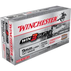Winchester Win3Gun Handgun Ammunition 9mm 147 gr Three-Gun 50/Box