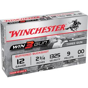 "Winchester Win3Gun Shotshells - Buffered Buckshot 12 ga 1325 fps 2-3/4"" 9 pellets #00 5/ct"
