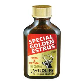 Wildlife Research Special Golden Estrus - 25th Anniversary Fresh & Super Premium Whitetail Doe Urine with Estrus Secretions 1 FL OZ
