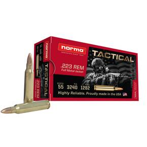 Norma Tactical Rifle Ammunition .223 Rem 55gr FMJ 3240 fps 20/ct
