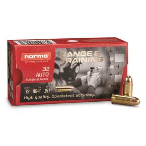 Norma Range & Training Handgun Ammuntion .32 ACP 73gr FMJ 985 fps 50/ct
