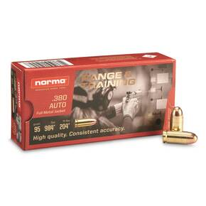 Norma Range & Training Handgun Ammuntion .380 Auto 95gr FMJ 985 fps 50/ct