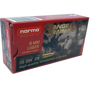 Norma Range & Training Handgun Ammuntion 9mm Luger 115gr FMJ 1214 fps 50/ct