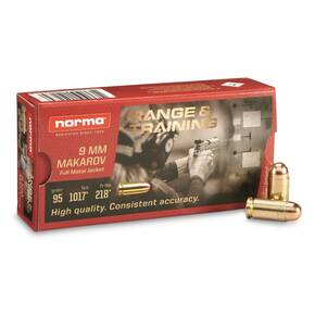Norma Range & Training Handgun Ammuntion 9mm Makarov 95gr FMJ  1017 fps 50/ct