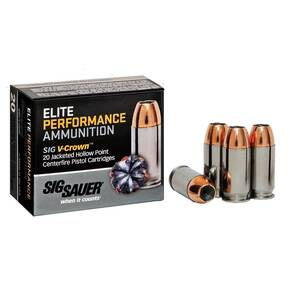 Sig Sauer Elite Performance Pistol Ammunition 9mm 124 gr Elite V-Crown JHP Box 20