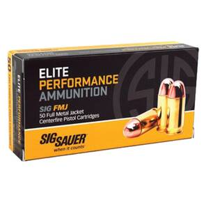 Sig Elite Performance Handgun Ammunition 10mm Auto 180 gr FMJ 1250 fps 50/ct