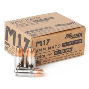 Sig Sauer ELite V-Crown M17 Handgun Ammunition  9mm Luger JHP 1198 fps 20/ct