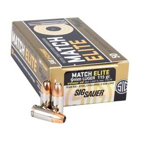 Sig Sauer Elite V-Crown Handgun Ammunition 9mm Luger 115gr JHP 1185 fps 50/ct