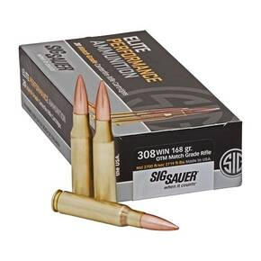 Sig Sauer Elite Match Rifle Ammunition .308 Win 168gr OTM 2700 fps 20/ct