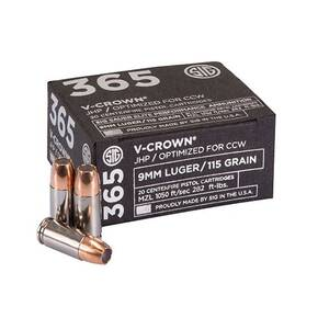 Sig 365 Elite V-Crown Handgun Ammunition 9mm Luger 115 gr JHP 1050 fps 20/ct