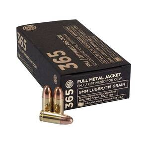 Sig Elite Performance 365 Handgun Ammunition 9mm Luger 115gr FMJ 1050 fps 50/ct