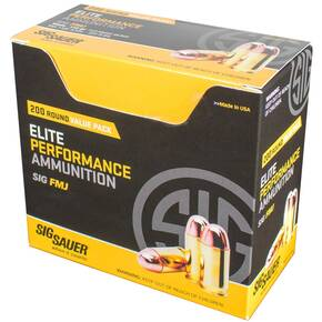 Sig Elite Performance Handgun Ammunition 9mm Luger 115 gr FMJ 1185 fps 200/ct