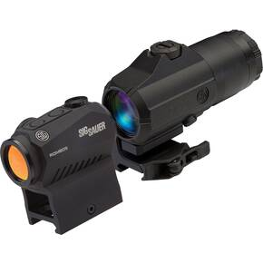 Sig Sauer ROMEO5H Red Dot Sight w/M1913 Picatinny Low Mount Riser & Juliet3 3x Magnifier - 1x20mm 2 MOA Red Dot Black Matte