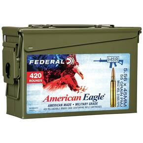 Federal XM193 NATO Ammunition  5.56mm 55gr FMJ 3165 fps 420/ct (Ammo Can)