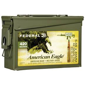 Federal XM855 Green Tip Ammunition 5.56mm 62 gr FMJ 3020 fps 420/ct (Ammo Can)