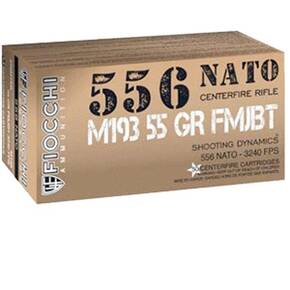 Fiocchi Training Dynamics Rifel Ammunition 5.56mm NATO 55gr FMJ 3240 fps 420/ct