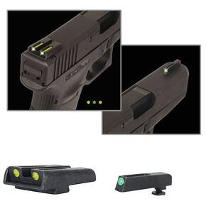 Truglo TFO Tritium/Fiber-Optic Day/Night Sights Fits Glock 42 / 43 Set Sights Green Front / Green Rear