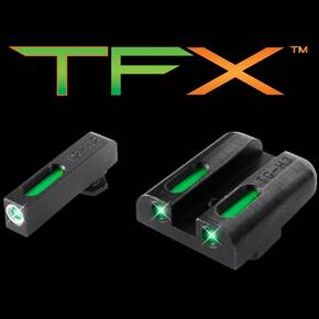 Truglo TFX Tritium/Fiber-Optic Day/Night Sights Fits CZ 75 Series - White Front Outline/Rear Green