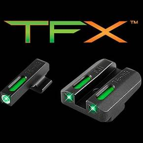 Truglo TFX Tritium/Fiber Optic Day/Night Sights Fits FNH FNP-45 FNX-45 - White Outline Front/Rear Green