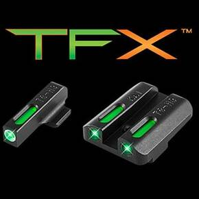 Truglo TFX Tritium/Fiber-Optic Day/Night Sights White Outline Front/Rear Green