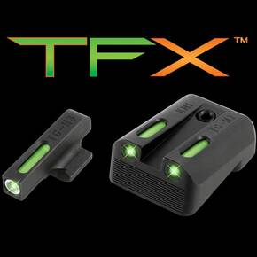 Truglo TFX Tritium/Fiber-Optic Day/Night Sights Fits Kimber 1911 Models with Fixed Rear Sight - White Outline Front/Green Rear