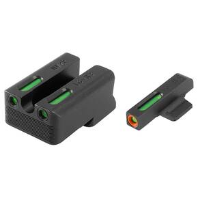 Truglo TFX Pro Tritium/Fiber-Optic Day/Night Sights Fit Novak LoMount cut .260 front / .500 rear - Orange Outline Front/Rear Green