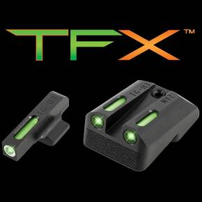 Truglo TFX Tritium/Fiber-Optic Day/Night Sights Fits Novak LoMount cut .270 Front / .500 Rear (1911 3  Officers & 4.25  Commander 9mm / .40S&W) - White Outline Front/Rear Green