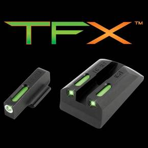 Truglo TFX Tritium/Fiber-Optic Day/Night Sights Fits Ruger SR9 / SR9C, SR40 / SR40C, SR45 - White Outline Front/Rear Green