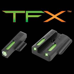Truglo TFX Tritium/Fiber-Optic Day/Night Sights Fits Ruger LC9 / 9s / 380 - White Outline Front/Rear Green