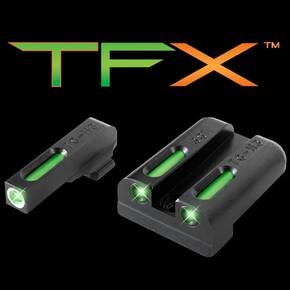 Truglo TFX Tritium/Fiber-Optic Day/Night Sights - SIG #8 #8 Set - White Outline Front/Rear Green