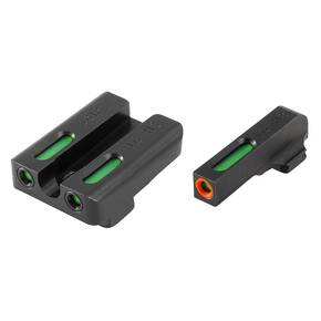 Truglo TFX Pro Next Gen Tritium & Fiber Optic Xtreme Handgun Sight - Sig Sauer #6 front / #8 rear - Orange Outline Front/Rear Green