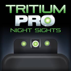 Truglo Tritium Pro Night Sights Fit S&W M&P incl SHIELD & .22 Models - White Outline Front/Rear Green