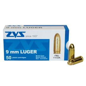 ZVS Elite Handgun Ammunition 9mm 115 gr FMJ 50/ct