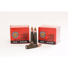 Century Arms Red Army Steel Case Rifle Ammunition 7.62x39mm 124gr HPBT 1000/ct