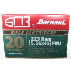Barnaul Steel Case Polycoated Rifle Ammunition .223 Rem 55 gr FMJBT 20/ct