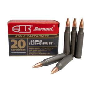 Barnaul Steel Case Polycoated Rifle Ammunition .223 Rem 55 gr FMJBT 500/ct