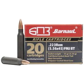 Barnual Polycoated Steel Case.Rifle Ammunition  .223 Rem 62gr FMJBT 3051 fps 20/ct
