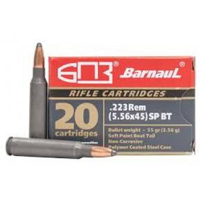 Barnual Polycoated Steel Case Rifle Ammunition .223 REM 55gr SP 3248 fps 20/ct