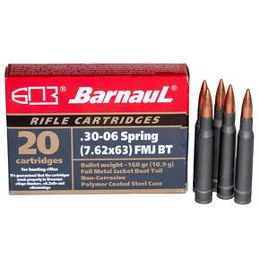 Barnual Polycoated Steel Case Rifle Ammunition .30-06 Sprg 168 gr FMJ 2612 fps 20/ct