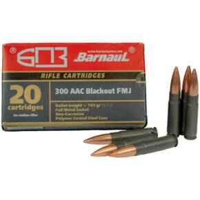 Barnaul Steel Poly Coated Rifel Ammunition .300 AAC Blackout 145gr FMJ 1985 fps 20/ct