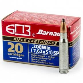 Barnual Polycoated Steel Case Rifle Ammunition .308 Win 168gr FMJ 2625 fps 20/ct