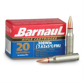 Barnual Polycoated Steel Case Rifle Ammunition .308 Win 168gr FMJ 2625 fps 500/ct (Case)