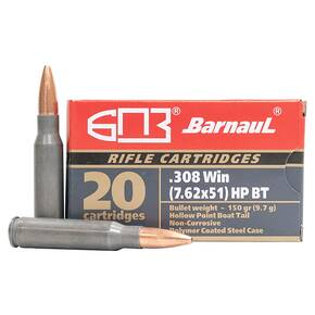 Barnual Polycoated Steel Case Rifle Ammunition .308 Win 150gr HP 2756 fps 20/ct