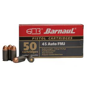 Barnual Polycoated Steel Case Rifle Ammunition .45 ACP 230 gr FMJ 935 fps 50/ct