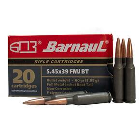 Barnual Polycoated Steel Case Rifle Ammunition 5.45x39mm 60 gr FMJ 2985 fps 20/ct
