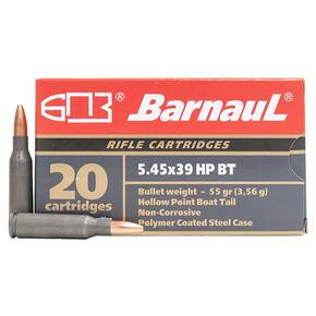 Barnual Polycoated Steel Case Rifle Ammunition 5.45x39mm 55 gr HP 20/ct