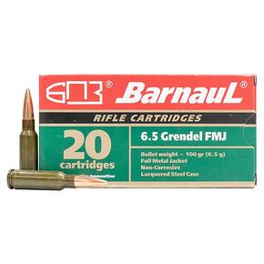 Barnaul Steel Lacquered Rifle Ammunition 6.5 Grendel 100 gr FMJ 2707 fps 20/ct