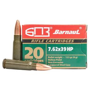 Barnual Lacquered Steel Case Rifle Ammunition 7.62x39mm 123 gr HP 2536 fps 500/ct (Case)