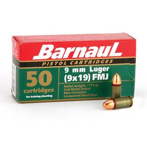 Barnual Lacquered Steel Case Handgun Ammunition 9mm Luger 115gr FMJ 50/ct