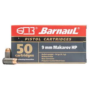 Barnual Polycoated Steel Case Rifle Ammunition 9mm Makarov 94 gr FMJ 1099 fps 50/ct